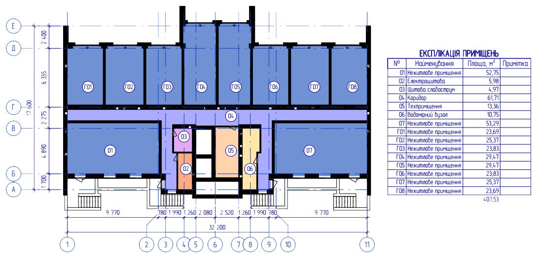 планування цоколя 6-ї секції ЖК 'Преміум Парк' в м.Житомир