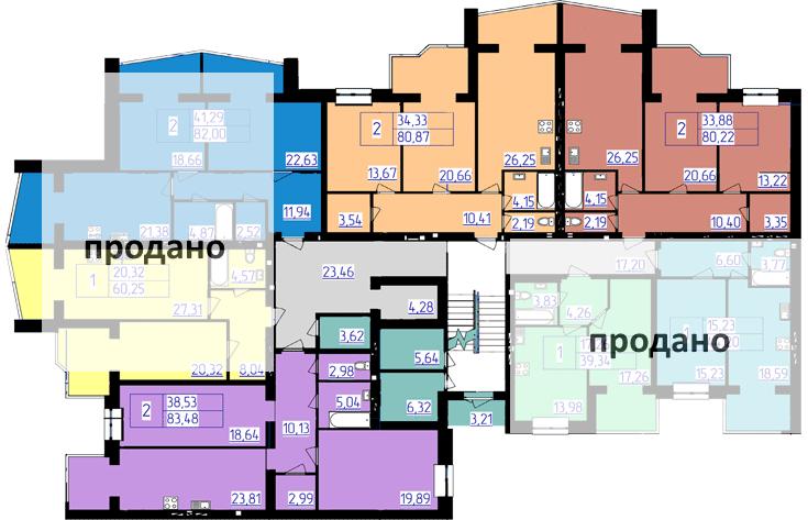 планування типового поверху 5-ї секції ЖК 'Преміум Парк' в м.Житомир