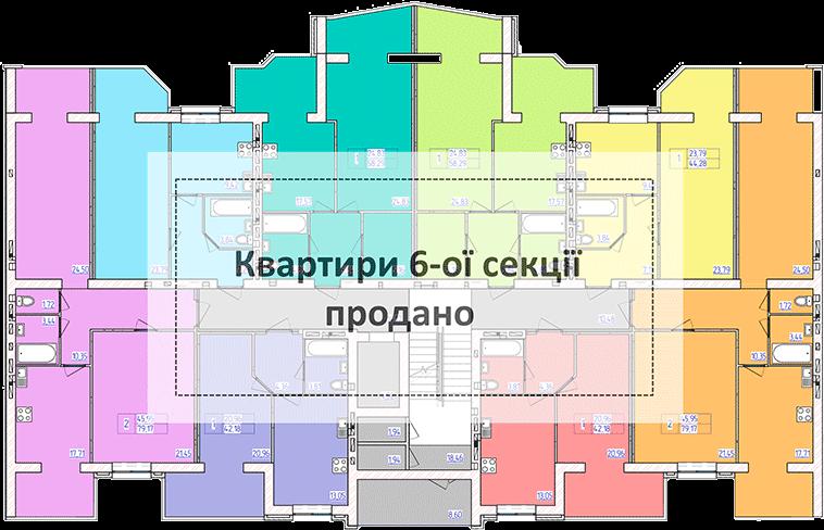 планування типового поверху 6-ї секції ЖК 'Преміум Парк' в м.Житомир