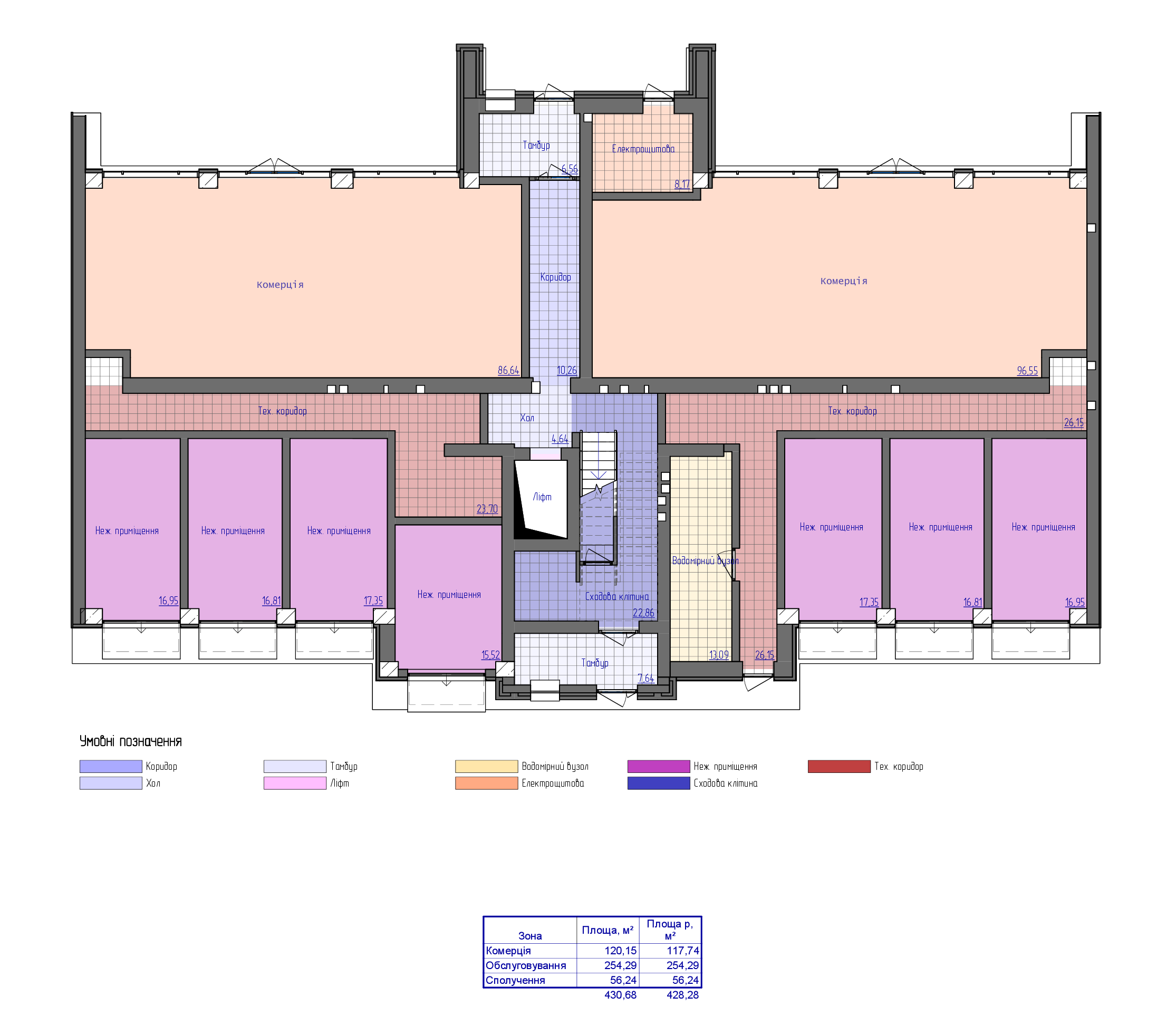 планування цоколя 3-ї секції ЖК 'Преміум Парк' в м.Житомир