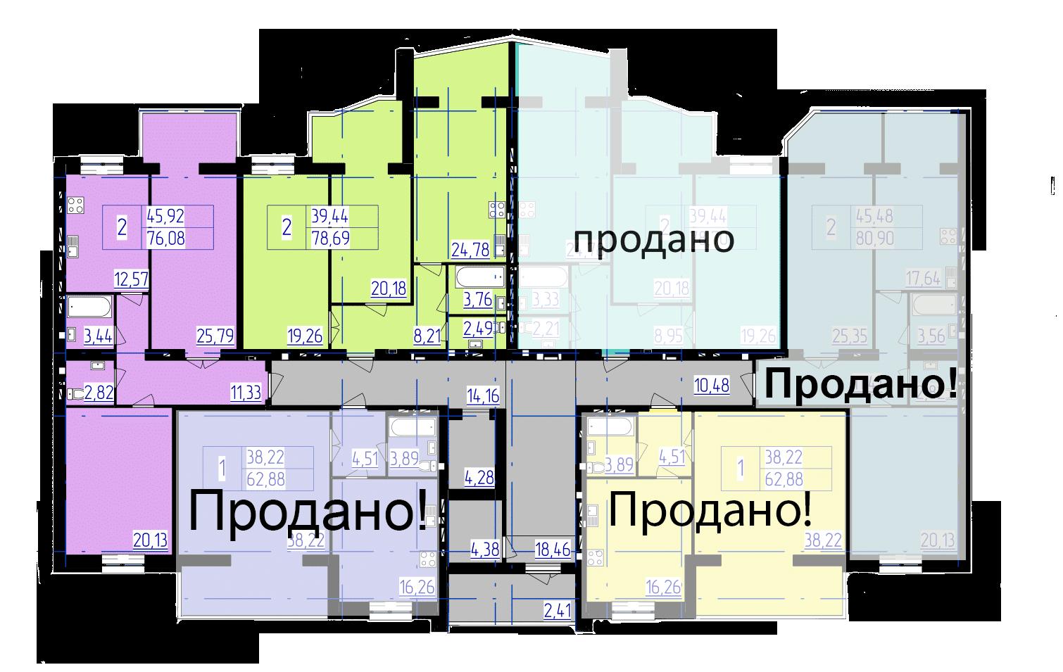 планування типового поверху 4-ї секції ЖК 'Преміум Парк' в м.Житомир