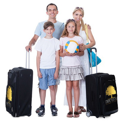 Happy Family With Luggage Going For Vacation Isolated On White Background